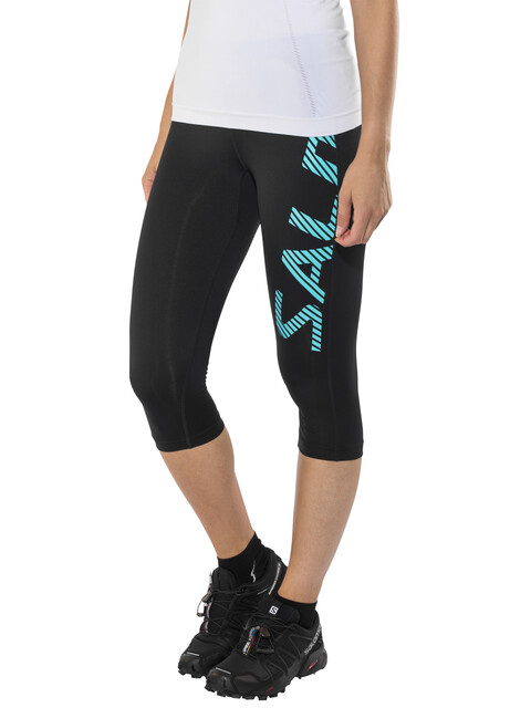 Salming Logo Capri Tights Women Black/Light Blue